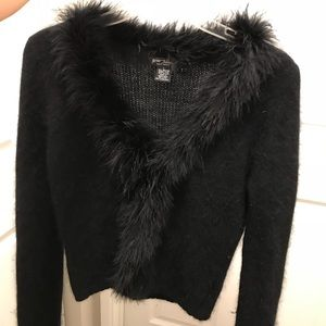 Betsey Johnson Black Ostrich Feather Trim Cardigan
